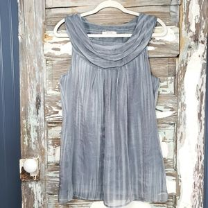 RW & Co Silver Shimmer Sleeveless Top Size Large